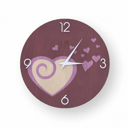 Design wall clock with hearts made of wood Todi, produced in Italy