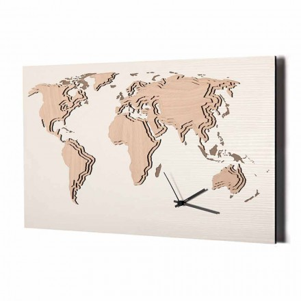 Wooden Wall Clock with World Map Decoration Made in Italy - Mappo