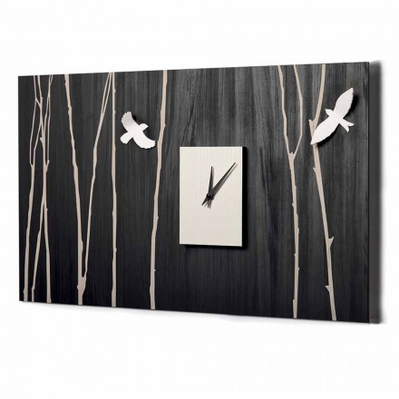 Wooden Wall Clock with Three-dimensional Decorations Made in Italy - Forrest