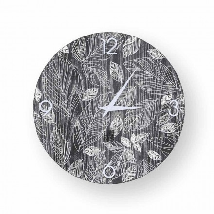 Modern design wall clock made of wood Veroli, produced in Italy