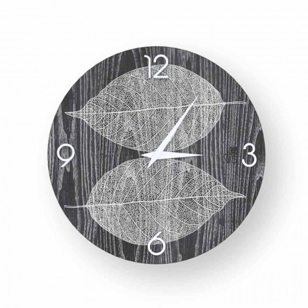Design wall clock made of decorated wood Arce, produced in Italy