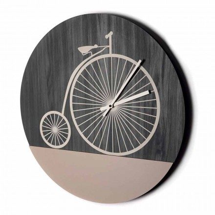 Design Wall Clock in Round Wood in 2 Finishes, Made in Italy - Byko