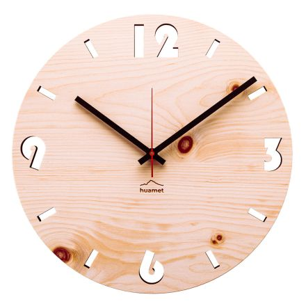 Wall clock in Swiss pine wood made in Italy Andrea