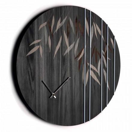Wall Clock in Oak Wood or Blackboard Laser Engraved Design Round - Kanno