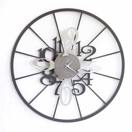 Modern Circular Two-tone Iron Wall Clock Made in Italy - Calipso
