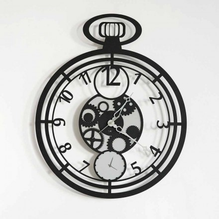 Modern Circular Wall Clock in Colored Iron Made in Italy - Cherry