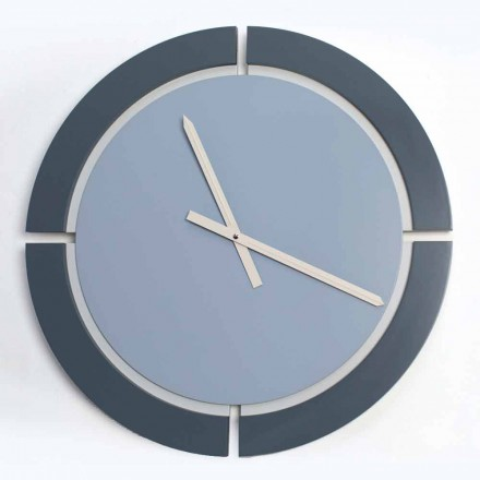 Modern Round Wall Clock in White Blue Avio - Savio