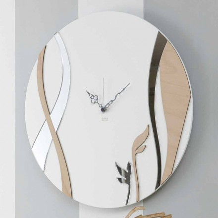 Modern and Round Wall Clock with Decorated Wood Design - Harmony