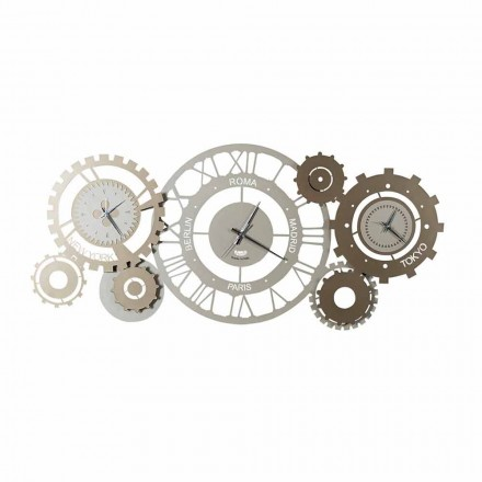 Modern Iron Wall Clock with Three Fusi Made in Italy - Mechanical