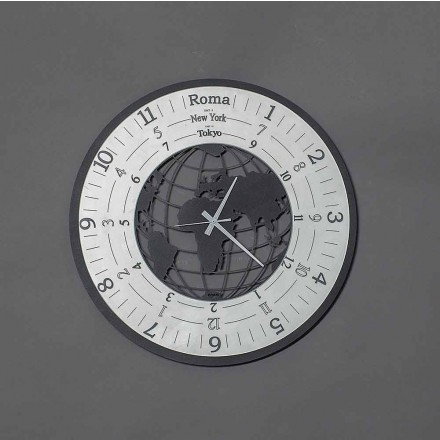 Modern Wall Clock in Black Iron or Slate Made in Italy - World