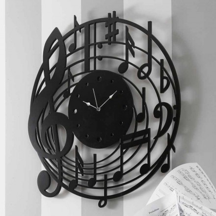 Modern Design Round Black Wall Clock in Decorated Wood - Music