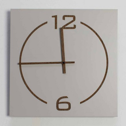 Square and Modern Design Wall Clock in Beige and Brown Wood - Tabata