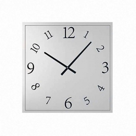 Square Wall Clock in Mirrored Crystal Made in Italy - Elogio