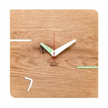 Square Wall Clock in Oak Wood Made in Italy - Chicago