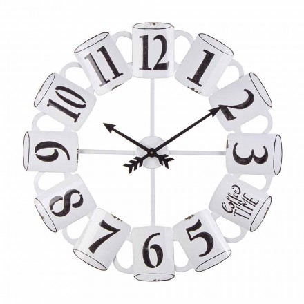 Homemotion Round Wall Clock in Black and White Steel - Cup