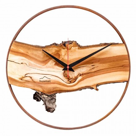 Round Wall Clock in Solid Apple Wood Made in Italy - Sirmione