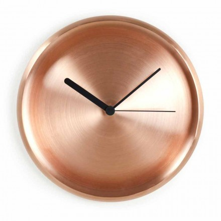 Round Wall Clock in Polished Copper Design Made in Italy - Ogio