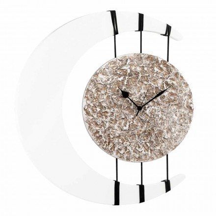 Moon-shaped wall clock Jilly, made in Italy, central hanging element