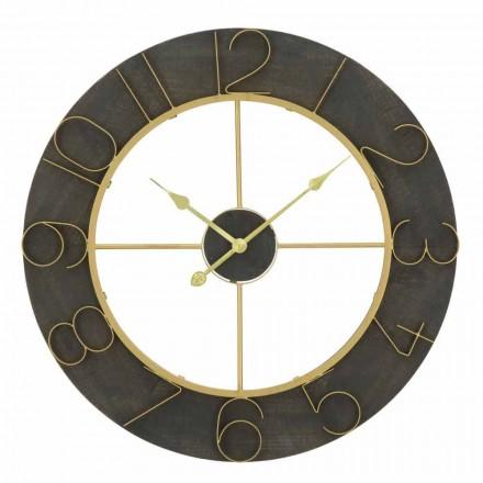 Round Wall Clock Diameter 70 cm Modern Design in Iron and MDF - Tonia