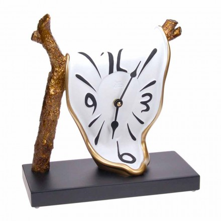 Modern Design Table Clock in Hand Painted Resin Made in Italy - Cyan