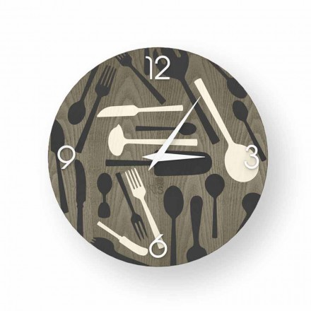 Ispra design wall clock made of wood, produced 100 % in Italy