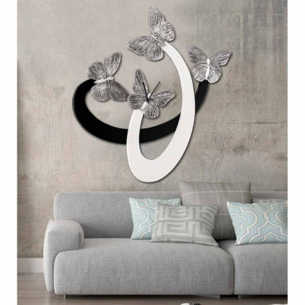 Modern design wall clock Zenia with elegant butterflies, ivory/black