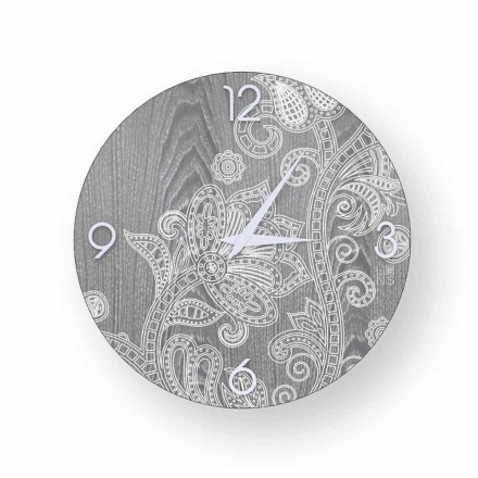 Modern design round wall clock in wood, Meolo, produced in Italy