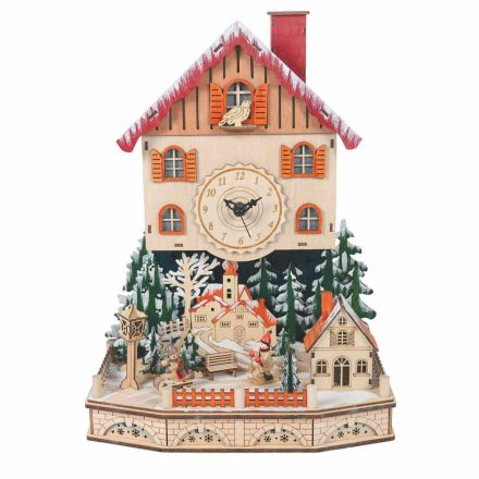 Wooden Christmas Clock Village with Snow and Led and Music - Villaggio