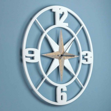 Large Wall Clock Design in Shabby White and Brown Wood - Hinge