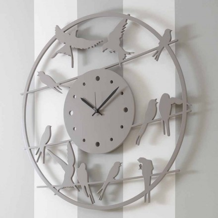 Large Modern Design Wall Clock in Colored Round Wood - Birds