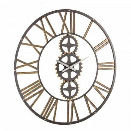 Large Vintage Style Wall Clock in Steel Homemotion - May