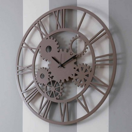 Large and Round Shabby Colored Wooden Wall Clock - Mechanism
