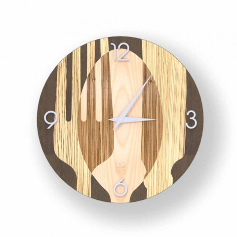 Agra modern wall clock in wood, made in Italy