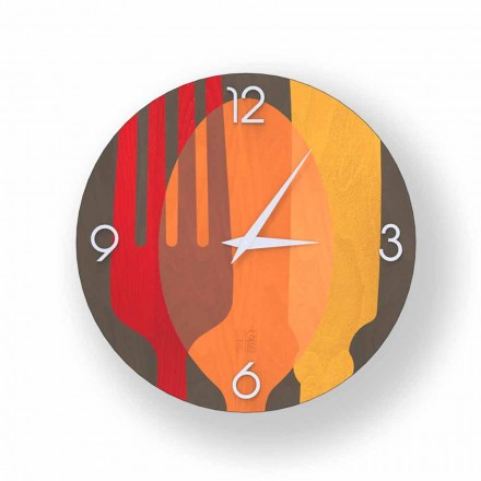Agra modern design wall clock made of wood, produced in Italy