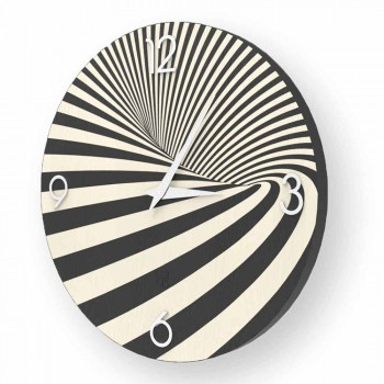 Wooden clock decorated with Azzio design, made in Italy