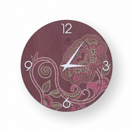 Dolo modern design decorated wooden clock, produced in Italy