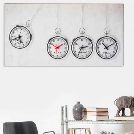 Big modern wall clock with 4 time zones Joseph, made in Italy