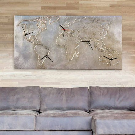 World map wall clock Miles, with 5 clock faces, made in Italy