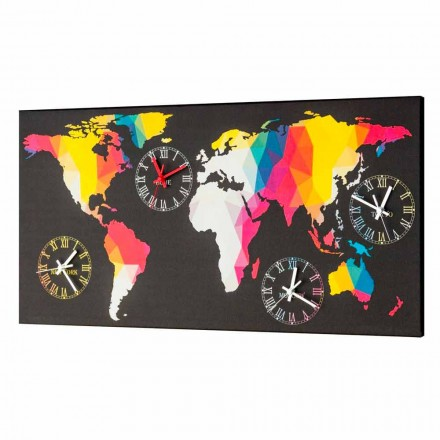 Modern design wall clock with 4 time zones Ryder, made in Italy