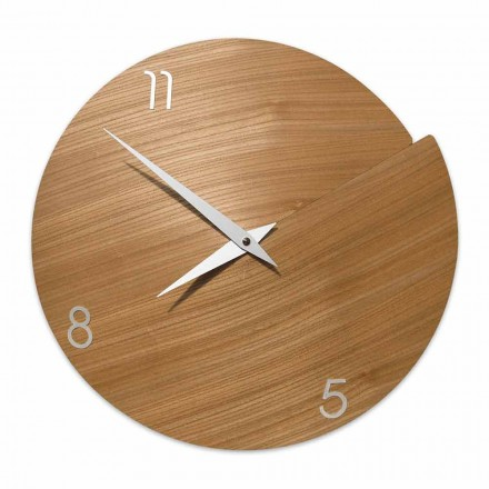 Modern Wall Clock Handcrafted in Natural Wood – Cratere