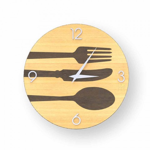 Clivio modern wooden wall clock, made in Italy