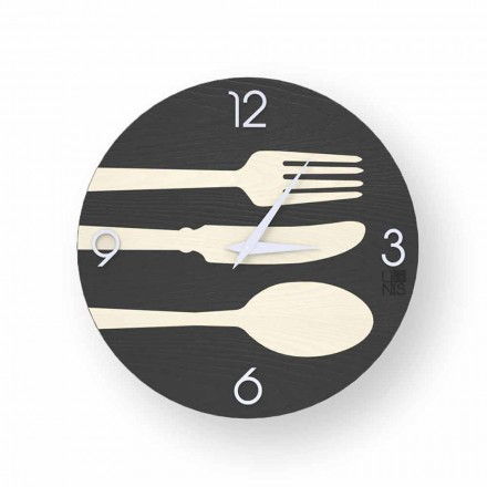 Clivio modern design wall clock made of wood, produced in Italy