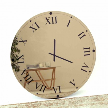 Round Wall Clock in Mirrored Crystal Made in Italy - Gear
