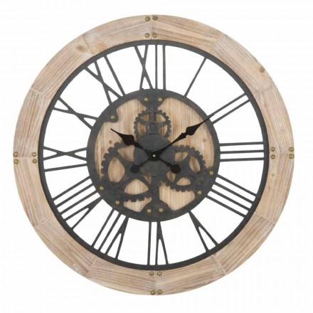 Round Wall Clock Diameter 80 cm of Design in Iron and MDF - Silva