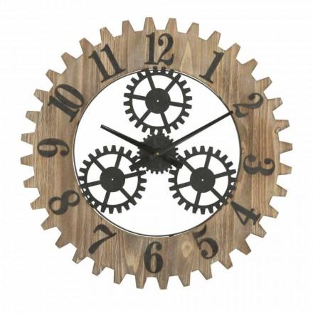 Round Wall Clock of Modern Design in Iron and MDF - Gitta