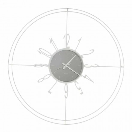 Round Wall Clock in White, Black or Bronze Iron Made in Italy - Compass
