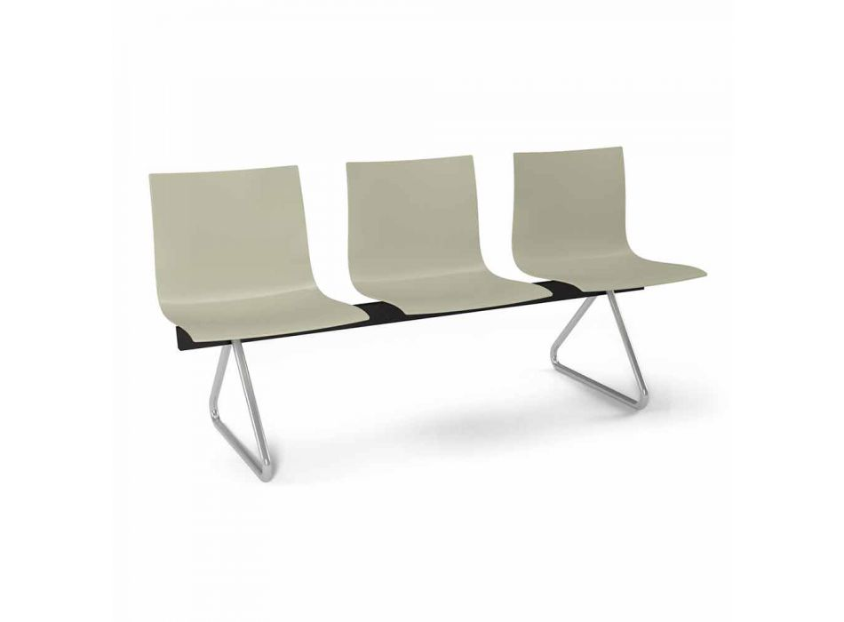 3 Seater Office Bench in Steel and Colored Recycled Technopolymer - Verenza