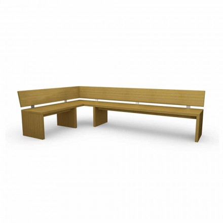 Modern corner bench in oak wood, made in Italy, Misty