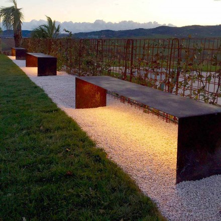 Handcrafted Outdoor Bench in Steel with LED Light Made in Italy - Magdalena