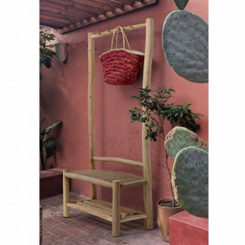 Outdoor Bench with Coat Hanger in Teak Branches and Woven Fiber - Peach